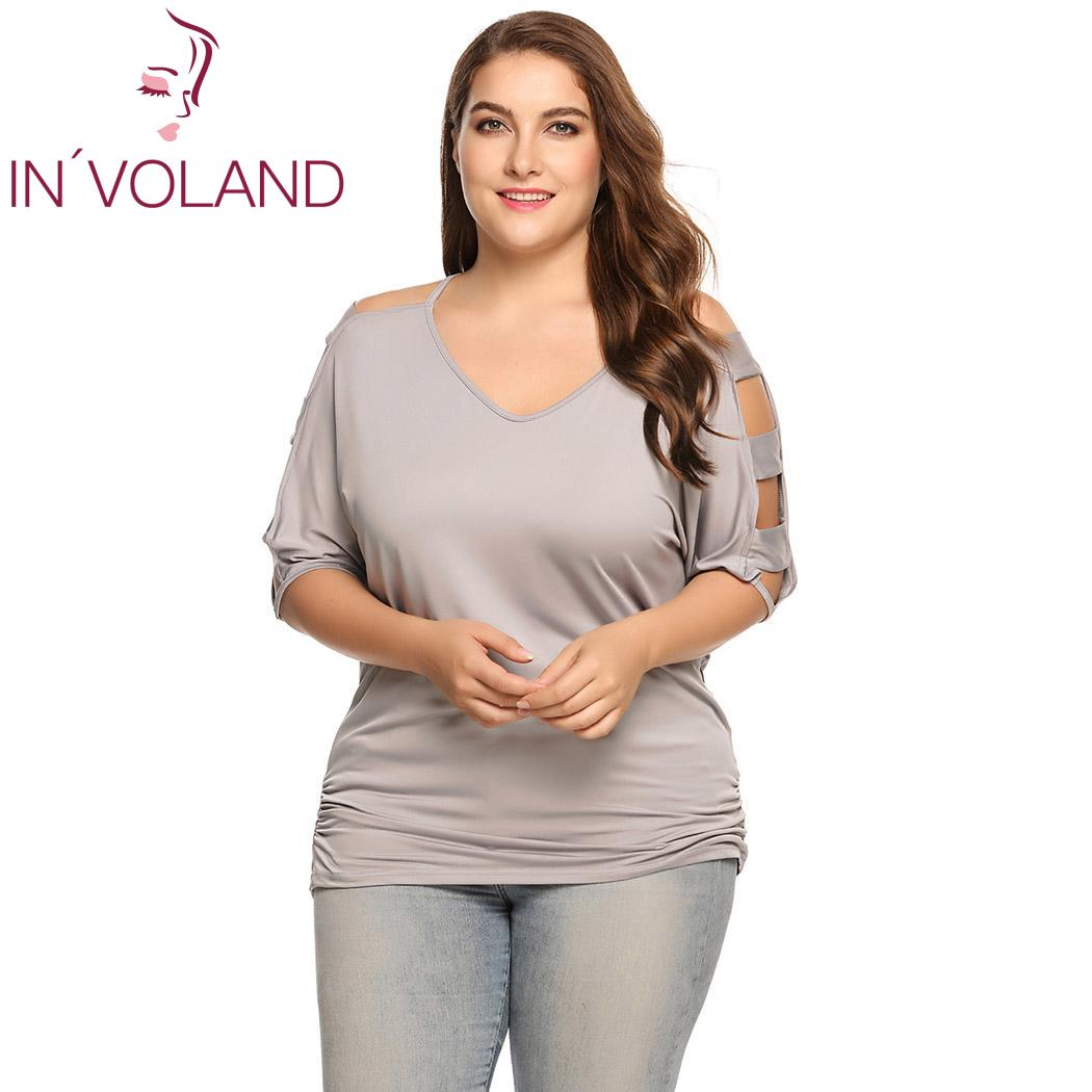 b63bc2dedb5 Detail Feedback Questions about IN'VOLAND Women T Shirt Tops Plus Size  Casual V Neck Half Ladder Sleeve Solid Pullover Spring Autumn Female Tshirt  Tee ...