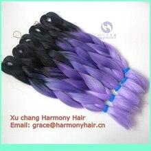 DHL ENVÍO GRATIS (15 paquetes/porción) 20 «100g 3 color ombre trenzado de cabello/kanekalon syntheic trenzas negro + lavanda + light lavender
