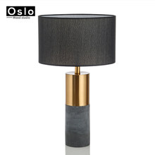 Modern Fashion Table Lamp For Bedroom Bedside Black Lampshade Table Light E27 Home Decor Living Room Metal Cement Table Lamps(China)