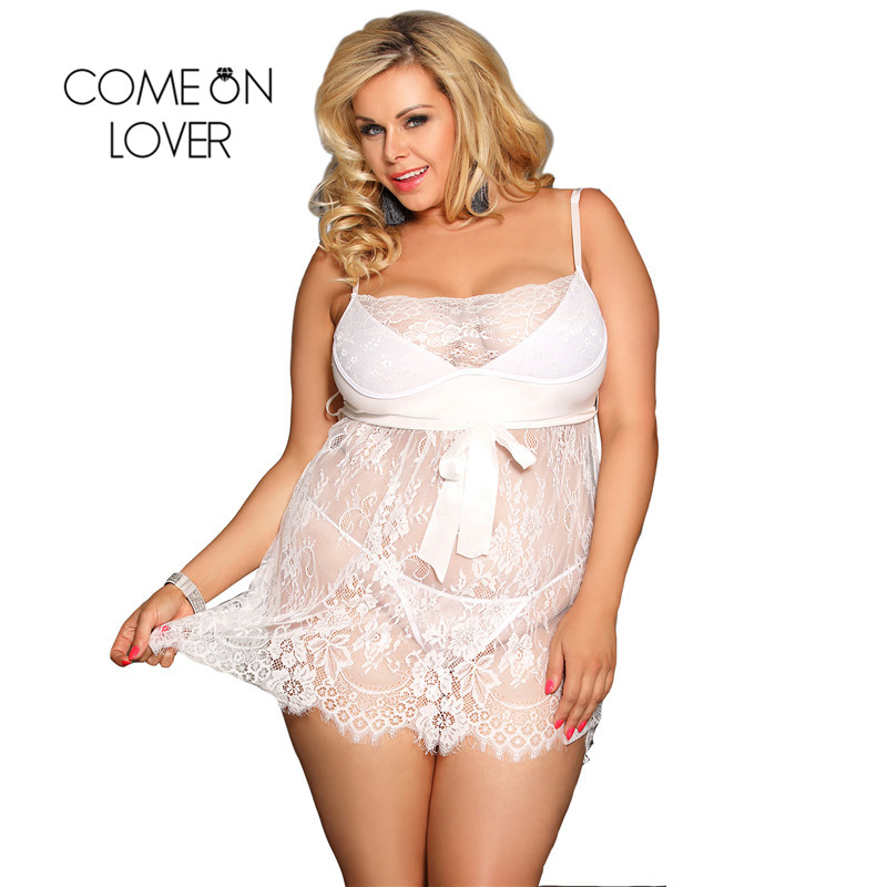 Eyelash Trim Lace <font><b>Babydoll</b></font> Nightwear <font><b>White</b></font> Black Red 7XL Plus Size <font><b>Sexy</b></font> Mini <font><b>Dress</b></font> <font><b>Lingerie</b></font> Strap Temptation Nighty for Sex image
