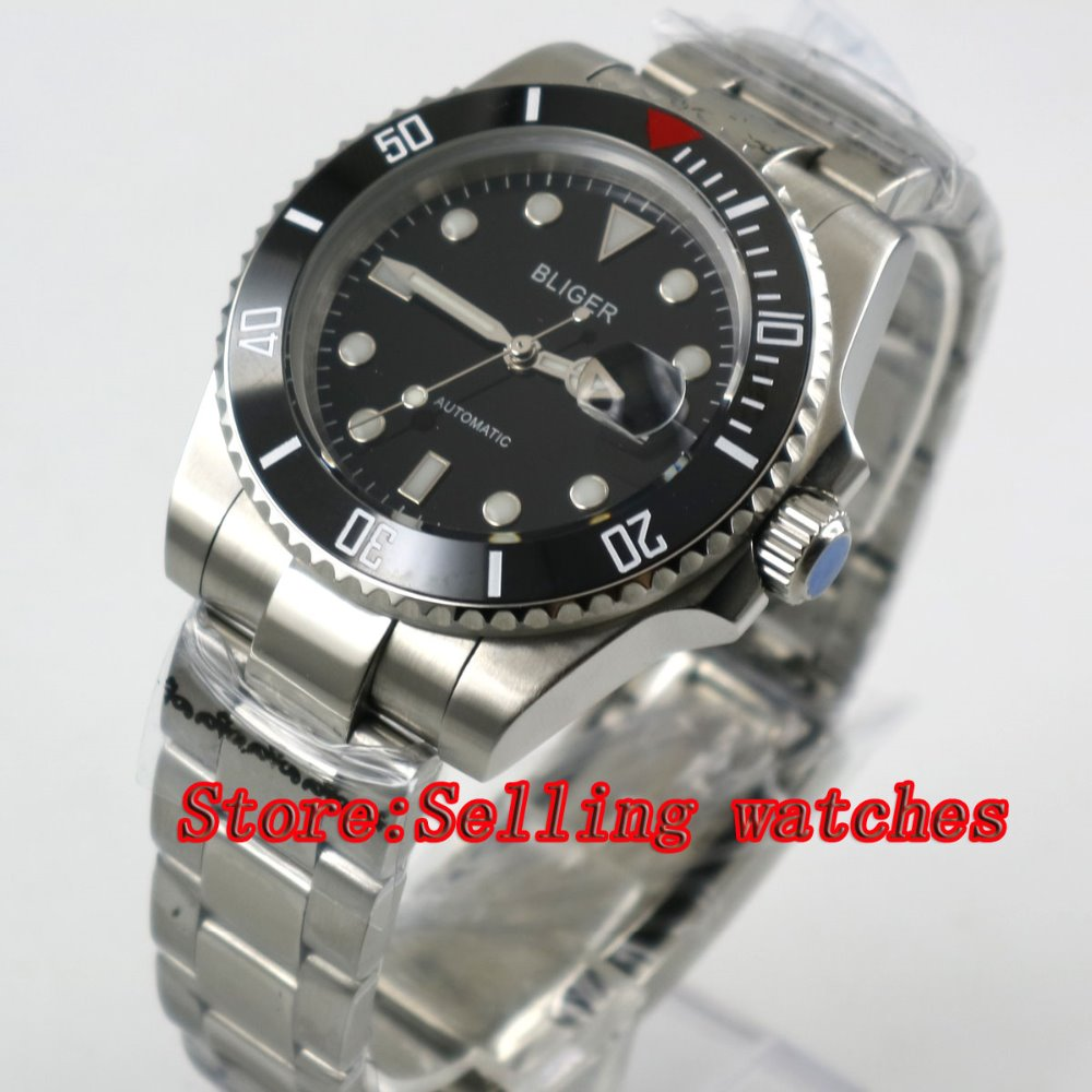 40mm Bliger black Dial ceramic bezel Stainless Steel Strap Sapphire Glass Automatic Movement Men's Mechanical Wristwatches p058 44mm bliger gray dial blue ceramic bezel sapphire crystal automatic movement men s mechanical wristwatches