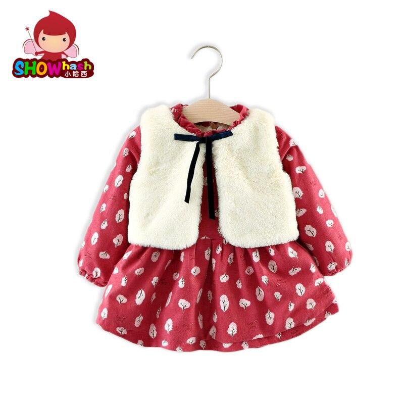 SHOWHASH Autumn Winter Girls Dress Clothes Sets Colorful Floral Cotton Plus Velvet Long Sleeved Dress White