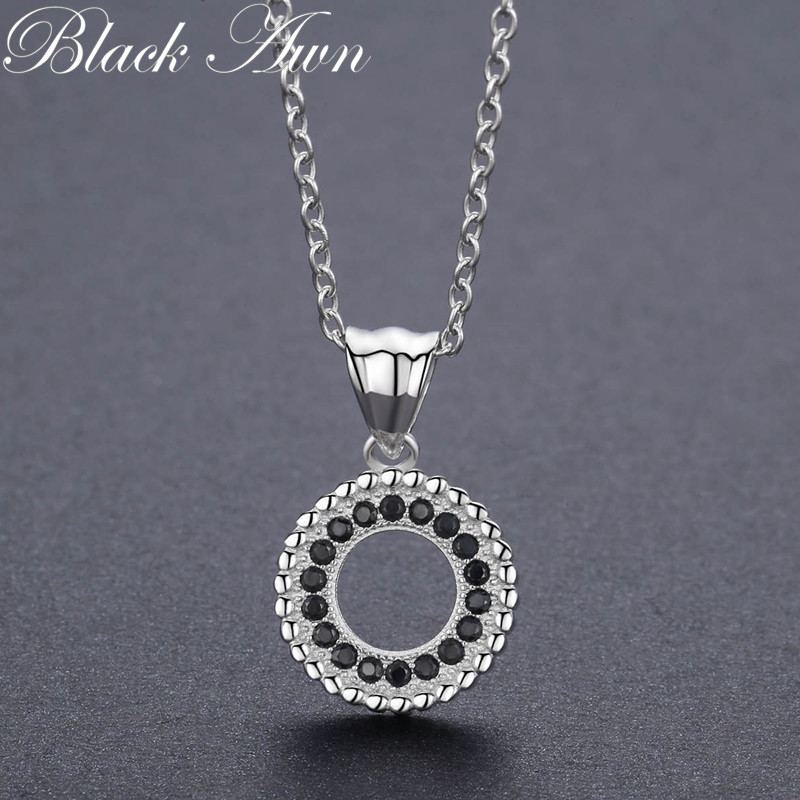 Classic 2.9g 925 Sterling Silver Fine Jewelry Trendy Round Engagement Necklaces & Pendants For Women Bijoux P193