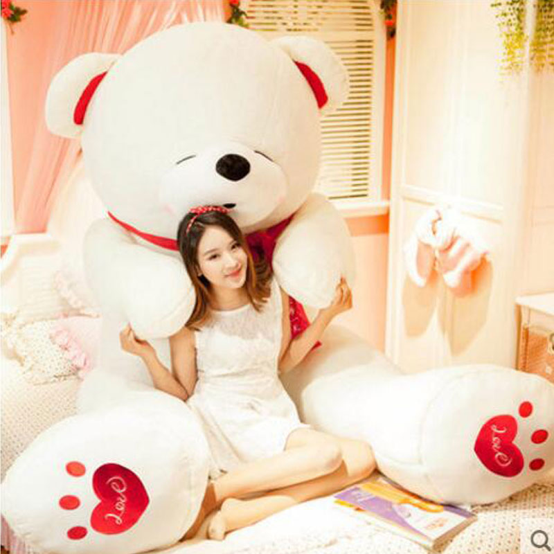Kawai 78 Super Hug Teddy Bear 200cm Oversize Teddy Panda White Cute Bear Animal Plush Doll Toys Soft Toys For Children Gift 1pcs 22cm fluffy plush toys white eyebrows cute dog doll sucker pendant super soft dogs plush toy boy girl children gift