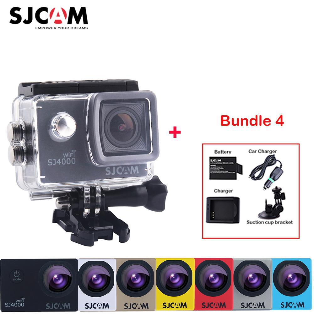 цена на Original SJCAM SJ4000 WiFi 2'' Screen Full HD 1080P Sports Action Camera +Extra Battery+Charger+Car Charger+Suction Cup