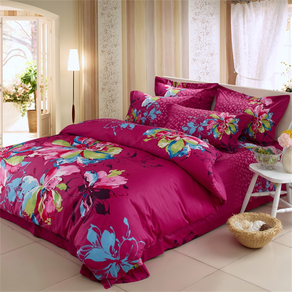 Floral cotton bed sheets - Watercolor Floral Design Violet Red Bedding Sets Queen Size King Size 100 Cotton Fabric Home