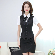 2016 New fashion work wear women's clothing vest skirt suits office uniforms female plus size vest with skirt sets gray black