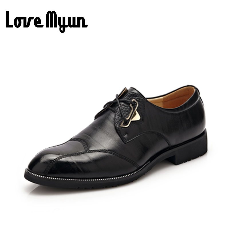 2017 brand new mens Business Dress shoes Wedding shoes fashion Pointed toe men lace up genuine leather soft leather shoes WA-11