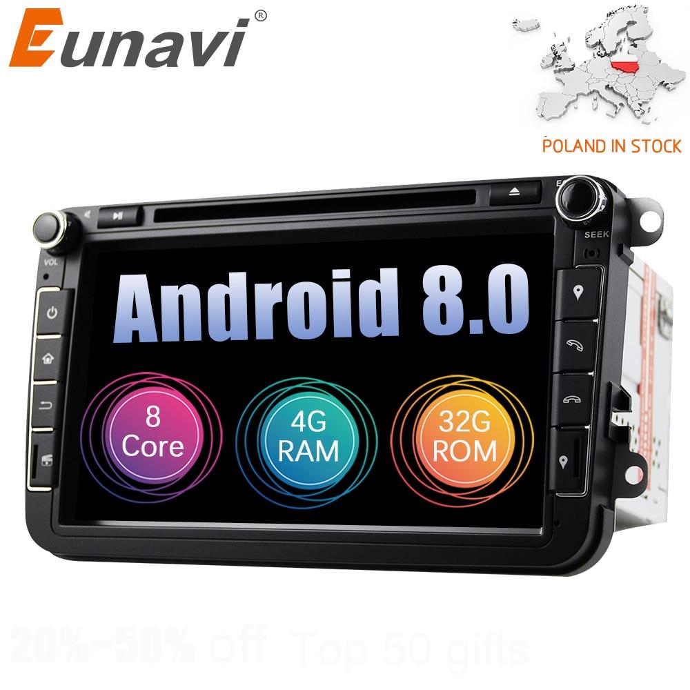 Eunavi 2 din 8 ''Octa core Android 8.0 Auto Lettore DVD GPS per il VW Passat CC Polo GOLF 5 6 Touran EOS T5 Sharan Jetta Tiguan Radio