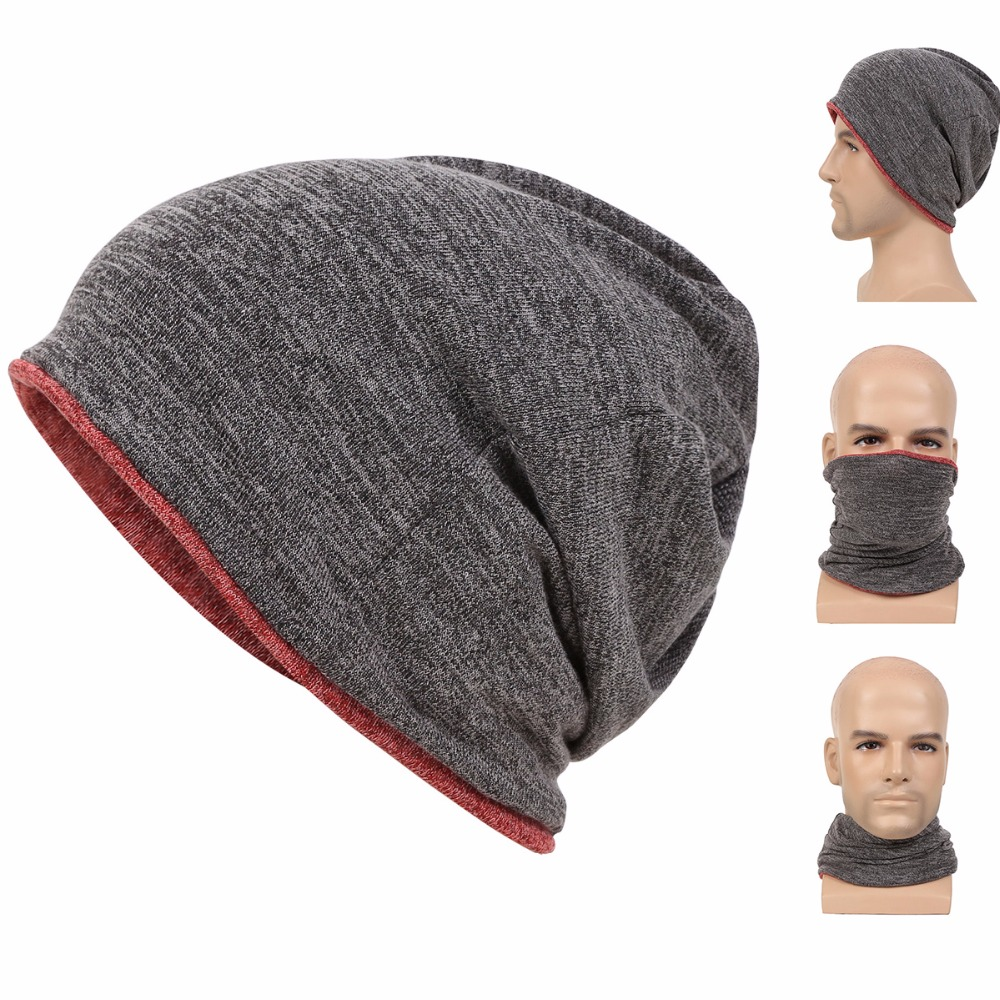 Beanie for Men Women Baggy Skull Cap Slouchy Winter Warm Hat Reversible Knit Ski Headgear Multifunction 3 in 1 Scarf Face mask