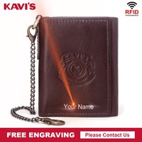 KAVIS Rfid High Quality Leather Free Engraving Crazy Horse Leather Male Portomonee Wallet Men Small Walet Short Coin Purse