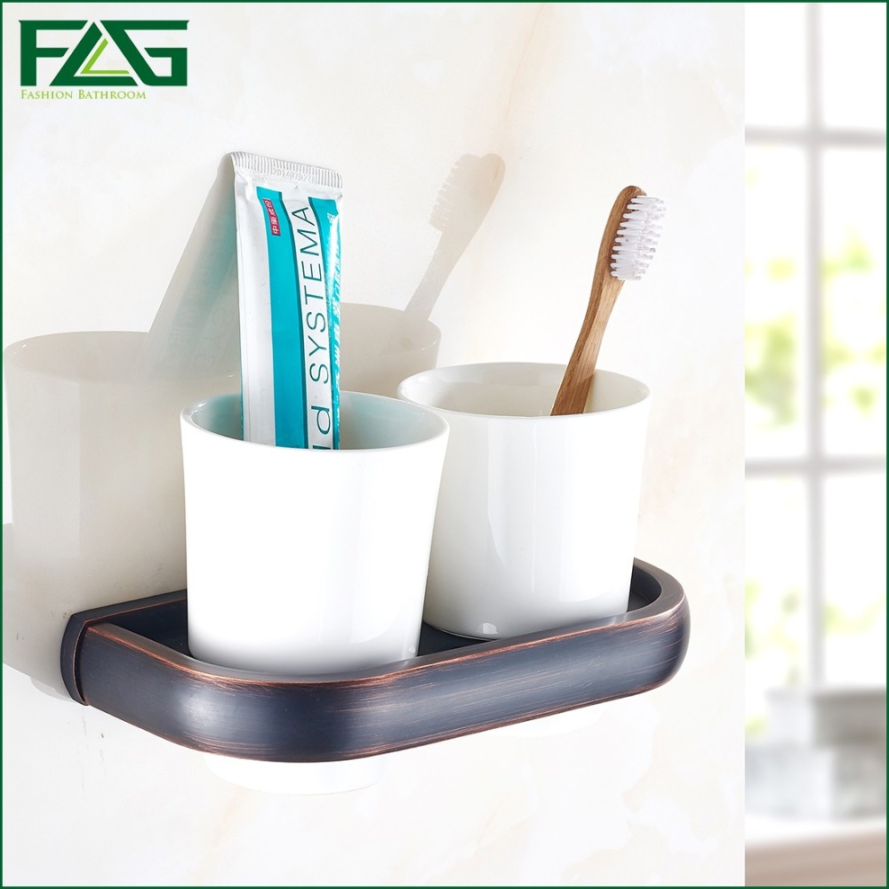 FLG New Modern Accessories European Style Oil Rubbed Bronze Copper Toothbrush Tumbler&Cup Holder Wall Mount Bath Product  81306 leyden new brass oil rubbed bronze double toothbrush tumbler holder wall mounted toothbrush holder with cup bathroom accessories