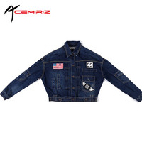 ACEMIRIZ Spring Autumn New European American Women S Loose Short Long Sleeved Denim Jacket Female BF