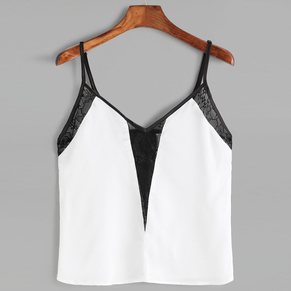 Newly Design Summer Tops Sexy V Neck White Black Lace Crop Top Chiffon Camis For Women J15T Drop Shipping