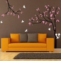 Custom 240X290cm Giant Tree Birds Squirrel TV Background Nursery Wall Stickers Removable Vinyl Decal Kids Baby Decor mural D377
