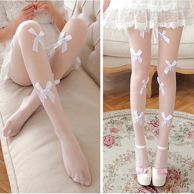 Primavera de moda de nova borboleta pérola meia-calça preta branco summer doce transparente leggings popular sexy mulheres sólidos leggings