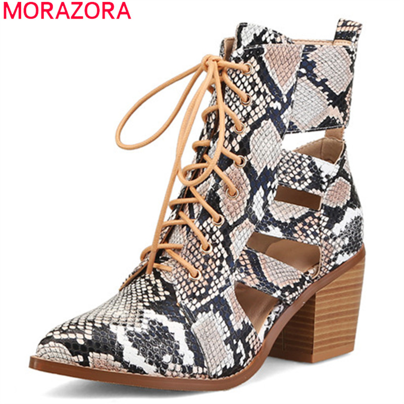 MORAZORA 2019 new arrival ankle boots for women pu Summer boots lace up square heels dress shoes woman office boots female MORAZORA 2019 new arrival ankle boots for women pu Summer boots lace up square heels dress shoes woman office boots female