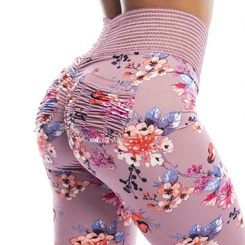 2018 Daisy Printed Sports Booty Leggings Women High Waist Booty Scrunch Butt Leggings with Scrunch Pockets Push Up Fitness Pants
