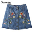 SETWIGG Fashion Novelty A-line Denim Mini Skirts Single Buttons  Floral Embroidery Cotton Denim Jean Short Skirts