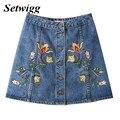 Setwigg novedad de la manera una línea de mini faldas de mezclilla botones individuales bordados florales de algodón denim jean faldas cortas