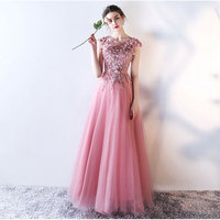 A line Lace applique Elegant Evening Dresses Prom Party Dress Pink Wedding Banquet Sleeveless Evening Gown Long Formal Dress