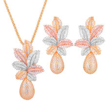 GODKI 65mm Luxury Pineapple Water Drop Women Wedding Cubic Zirconia Choker Necklace Earring Dubai Jewelry Set Jewellery Addict(China)