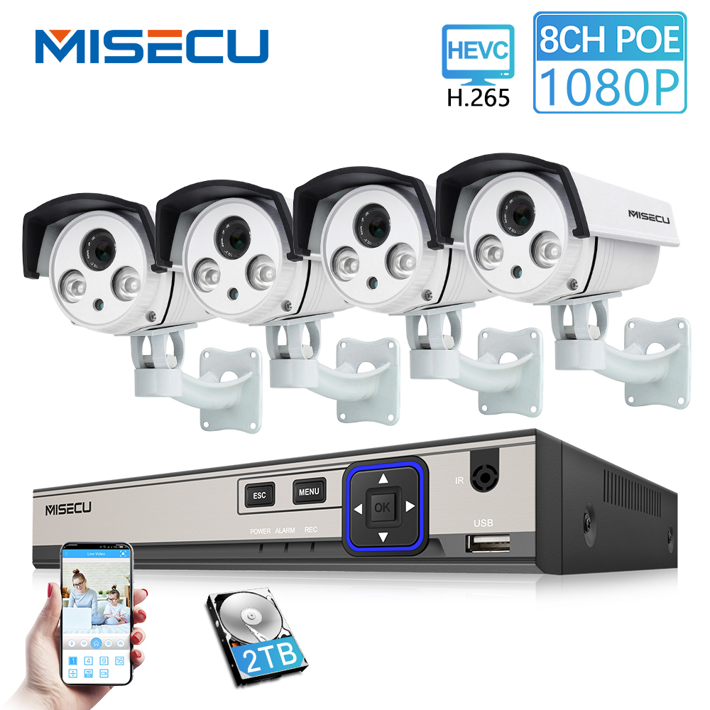 MISECU 8CH 48V HD POE NVR 1080P 2.0MP High Power Array IR Led POE IP Camera Outdoor Waterproof P2P Onvif Surveillance camera kitMISECU 8CH 48V HD POE NVR 1080P 2.0MP High Power Array IR Led POE IP Camera Outdoor Waterproof P2P Onvif Surveillance camera kit