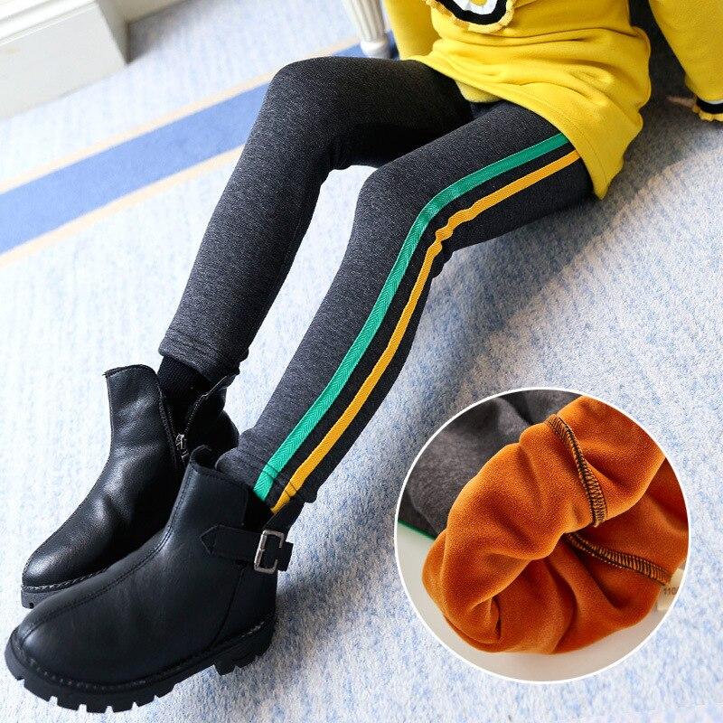 Warm Winter Girls Leggings Faux Leather PU Skinny Thick Velvet Kids Pants Trousers for Girl Leggins Baby Sequin Pants Pantalones 3