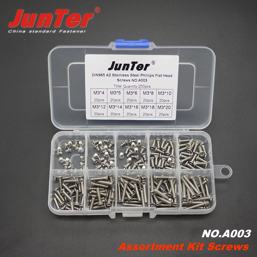 200pcs <font><b>M3</b></font> (<font><b>3mm</b></font>) <font><b>x</b></font> 4/5/6/8/10/12/14/16/18/20 A2 Stainless Steel Phillips Flat Head Machine <font><b>Screws</b></font> Assortment Kit NO.A003 image
