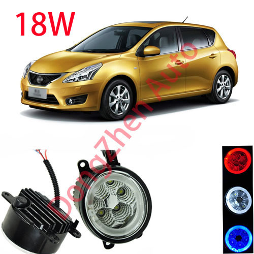 ФОТО Dongzhen auto accessories car LED front fog lights strobe line group For Nissan Tiida 2009-2013 car styling parking