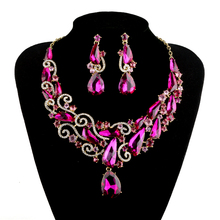 New Luxury Rose earrings set Bridal Wedding Jewelry sets Fuchsia Waterdrop Women party Accessories Jewelry Necklace with Earring