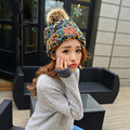 Autumn winter Ladie Hat rabbit ball knitted hat Letter mixed Plush cap fashion high quality outdoors knit cap