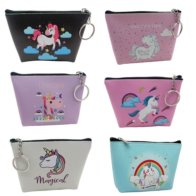 Cute Girl Kids Coin Purses Holder Kawaii Animal Unicorn Flamingo Women Mini Change Wallets Money Bag Children Zipper Pouch Gift