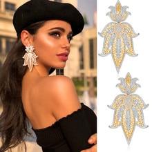 GODKI 75mm Trendy Luxus Crown Nigerian Lange Baumeln Ohrringe Für Frauen Hochzeit Zirkon Kristall Dubai Braut Ohrring