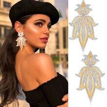 GODKI 75mm de moda de lujo de la Corona nigeriana larga cuelga los pendientes para las mujeres circonio de boda de cristal Dubai pendiente nupcial