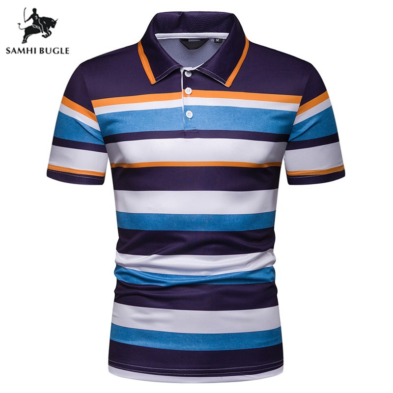 Brand Striped   Polo   Shirt Men 2019 Summer Cotton Turn-down collar Breathable Anti-Wrinkle Business Tops Tee   polo   hombre