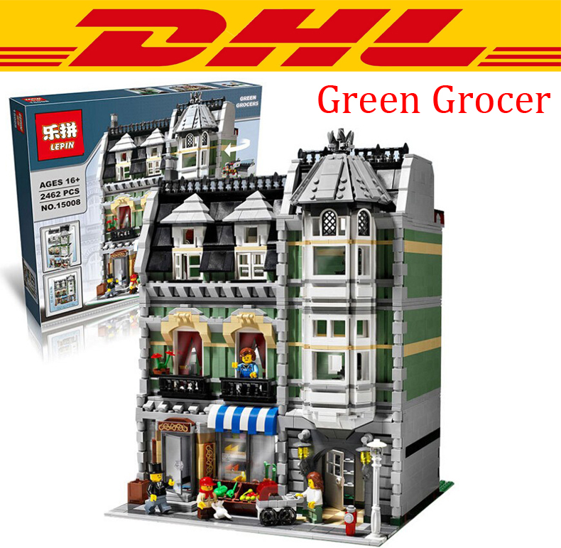 2016 New LEPIN 15008 2462Pcs City Street Creator Green Grocer Model font b Building b font