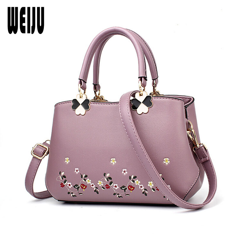 WEIJU Women Bag Zipper Handbag Embroidery Flower Tote Female Leather Shoulder Bag Women's Messenger Bags Bolsa Feminina 2017 new clutch steam punk female satchel handbag gothic women messenger bags shoulder bag bolsa shoulder bags tote bag clutches