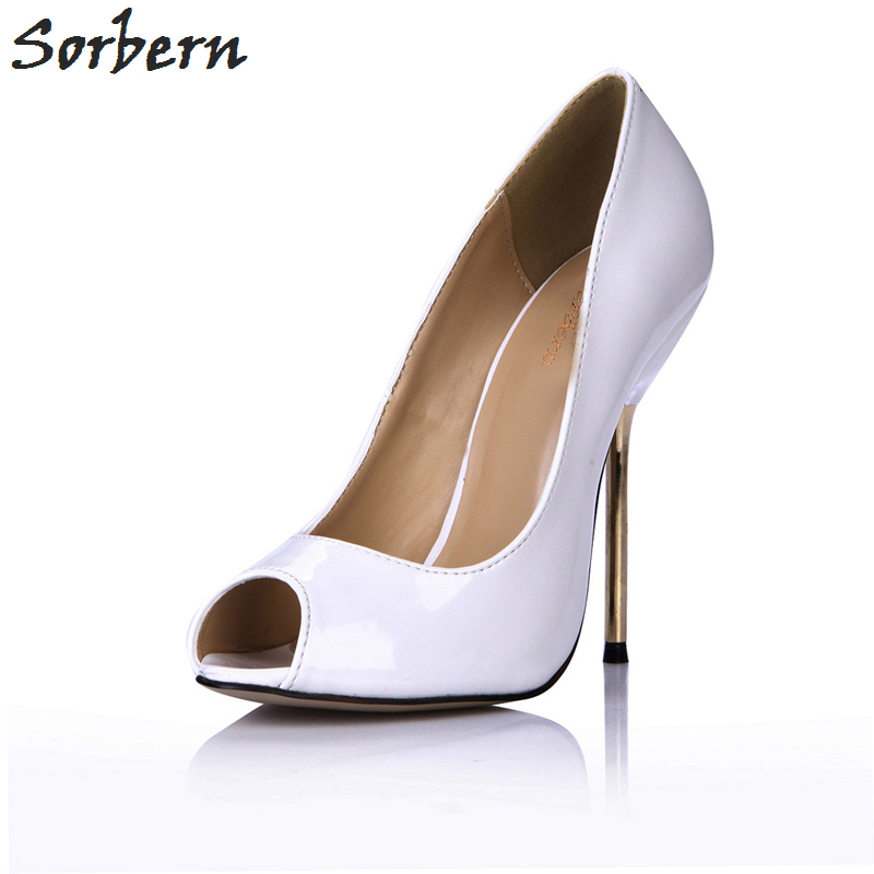 Sorbern White Shoes Woman High Heel Pump Metal Heels Shiny Office Shoes Fit Ladies Hot 2018 Customized Red Bottom High Heels