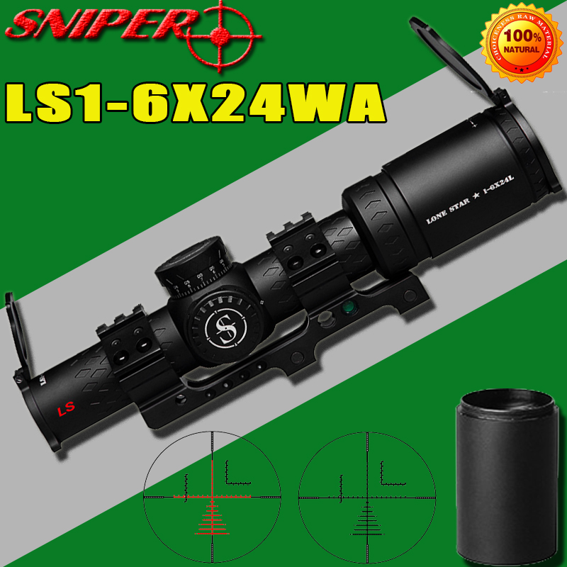SNIPER LS 1-6X24 WA Riflescope Tactical Rifle Scope Glass Etched Reticle Hunting Optics Sight  Red Dot 20mm Mounts Hunting Scope