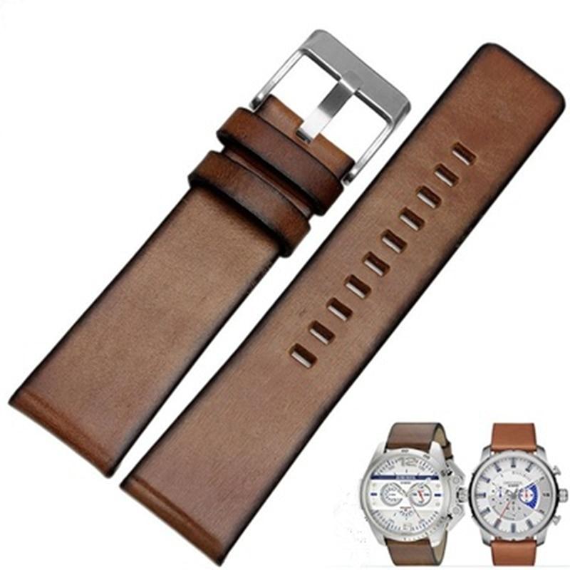 TJP 24mm 26mm 28mm Brown Genuine leather Retro Watch bands Strap For DZ7322 DZ12