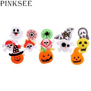 PINKSEE 10 шт. Креативный дизайн для Хэллоуина светящиеся кольца светодиодные светящиеся кольца на палец световое кольцо с тыквой детский мален...