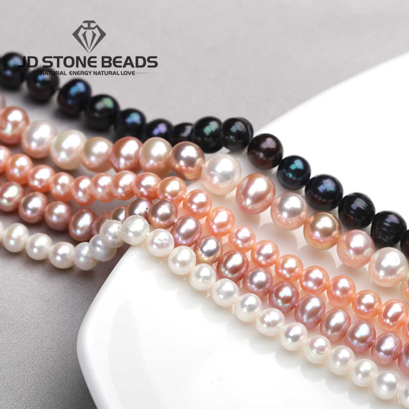 "Free Shipping High Grade 5mm 6mm 7mm 8mm 9mm Natural Round White Freshwater Pearl Beads Strand 15"" Gemstone for Jeselry Making"