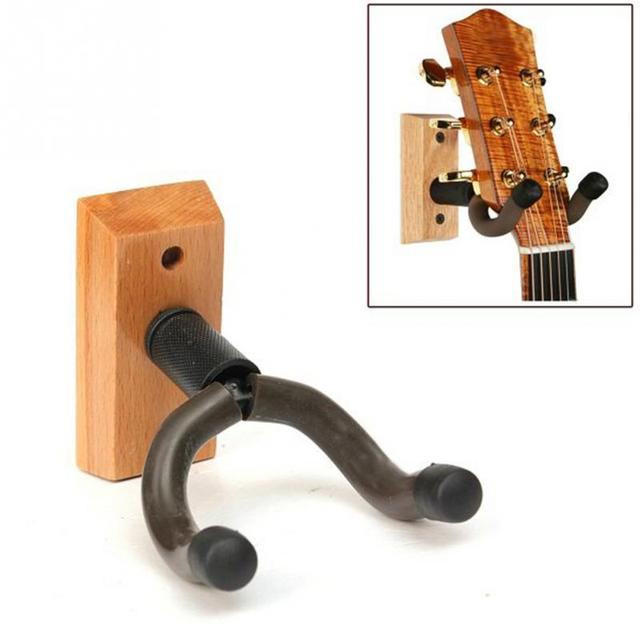 2017 Durable Wooden Base Guitar Hangers Wall Mount Hooks Stand Holder Musical Instrument