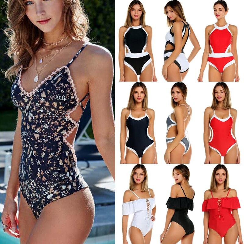 New One Piece Swimsuit 2018 Summer Swim Wear Beach Wear Bandage Monokini Swimsuit Sexy Swimwear Women Bodysuit Bathing Suit ajmal baaqa