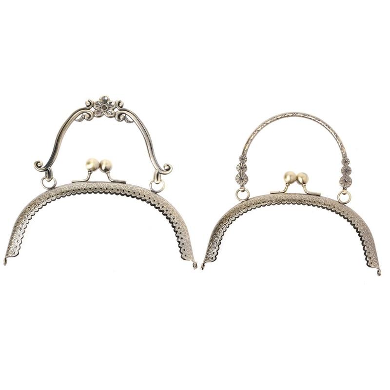 THINKTHENDO 1pc Metal Frame Kiss Clasp Lock Handle Arch For DIY Purse Bag DIY Craft 16.5cm