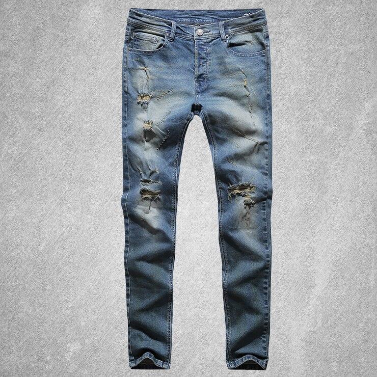 Biker Automne Mince Coton Long Blue Nouveau Mode Trous Casual Holes Pantalon Hommes Moto Jeans Denim Bleu Affligé 2017 qg6RZn
