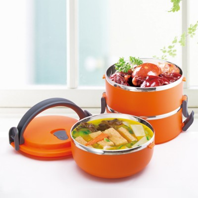 Fashion Durable Round Shape Portable Food Container three layers Thermal Lunch Box Bento Picnic 15*21cm