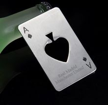 Personalized stainless steel bottle opener Spades A beer engrave with your restaurant name/logo keychain