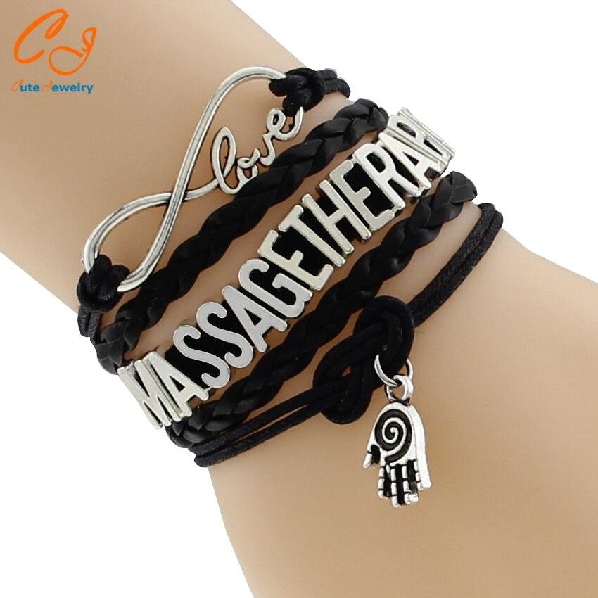 Fashion New Infinity 8 Love Braid Leather Bracelets Massage Therapist Palm Charm Bracelets Bangles Business Gifts